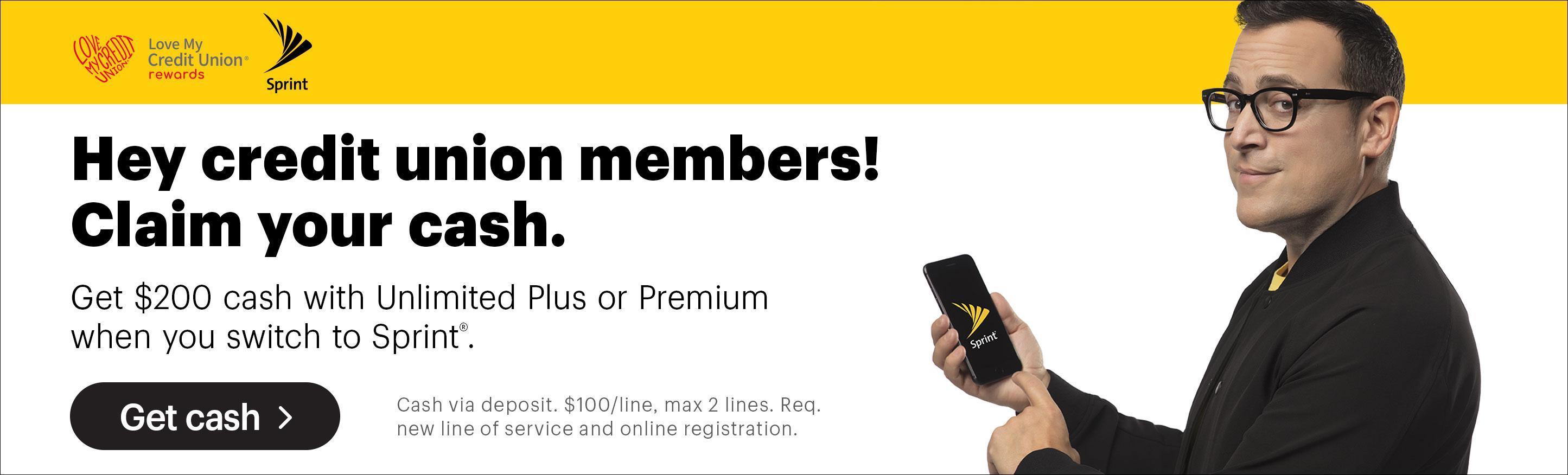 Sprint Credit Union Member Cash Rewards Program